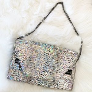 Milly Clutch in Hologram Python Print Leather